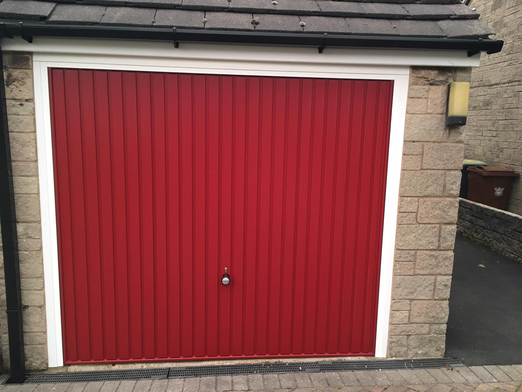 Hormann Vertical Door In Red New Mills Pennine Garage Doors