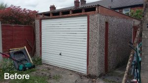 Garage renovation, Hyde, Tameside before