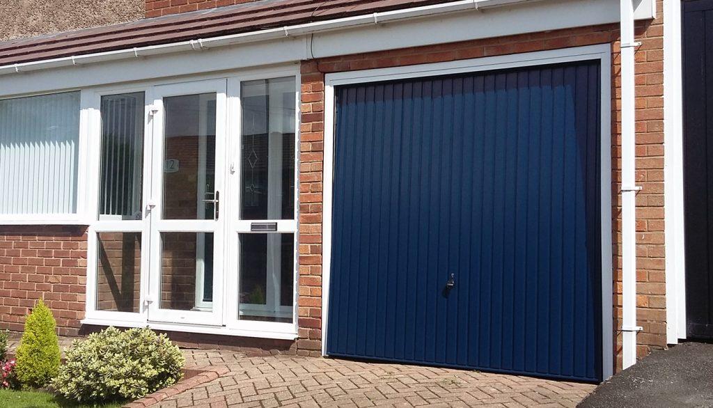 Hörmann blue garage door, Tameside