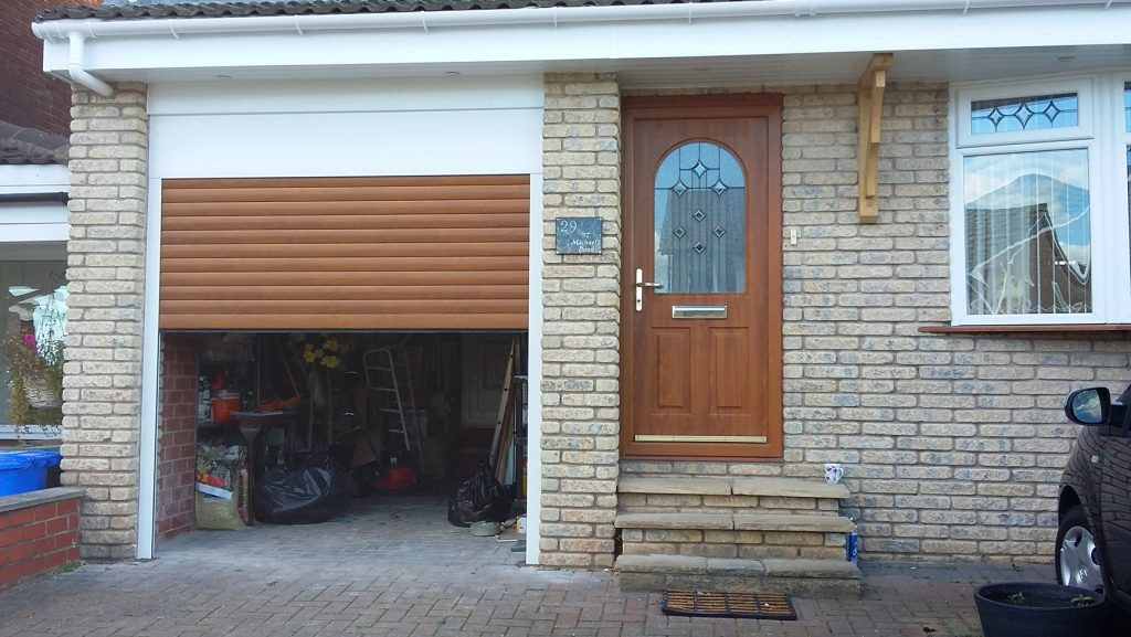 AlluGuard roller garage door, Godley open